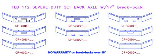 Set Forward Axle Fld 112 : Freightliner fld severe duty set back axle truck bumpers
